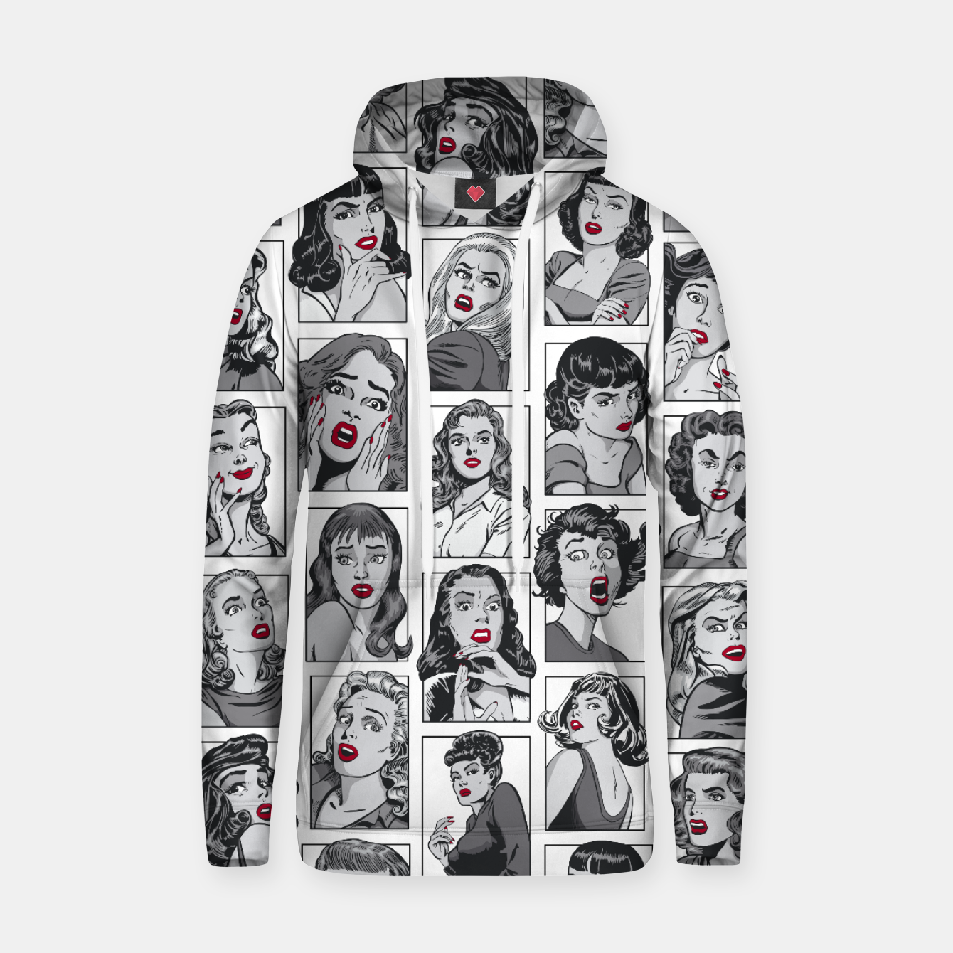 Image of Vintage Pulp Comic Pop Culture Pin Up Girl Art Pattern White Hoodie - Live Heroes