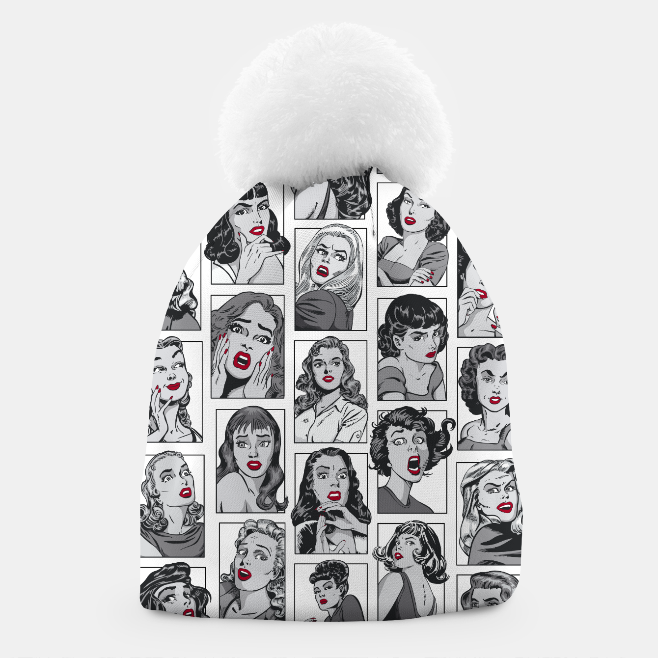 Image of Vintage Pulp Comic Pop Culture Pin Up Girl Art Pattern White Beanie - Live Heroes