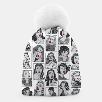 Thumbnail image of Vintage Pulp Comic Pop Culture Pin Up Girl Art Pattern White Beanie, Live Heroes
