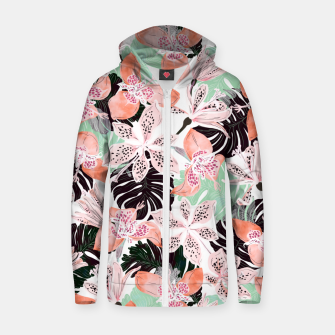 Thumbnail image of Tropical garden floral 20 Sudadera con capucha y cremallera , Live Heroes