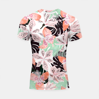 Thumbnail image of Tropical garden floral 20 Shortsleeve rashguard, Live Heroes