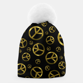 Thumbnail image of Peace Sign Gold Beanie, Live Heroes