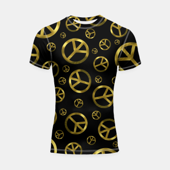 Thumbnail image of Peace Sign Gold Shortsleeve rashguard, Live Heroes