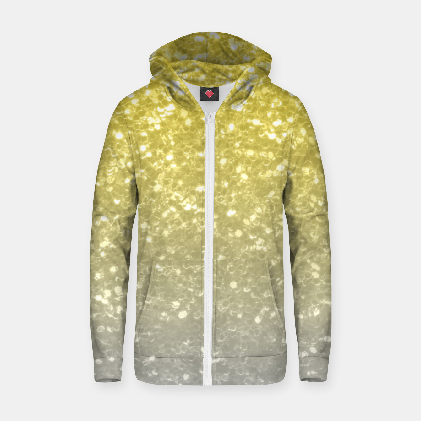 Image of Light ultimate grey illuminating yellow sparkles Zip up hoodie - Live Heroes