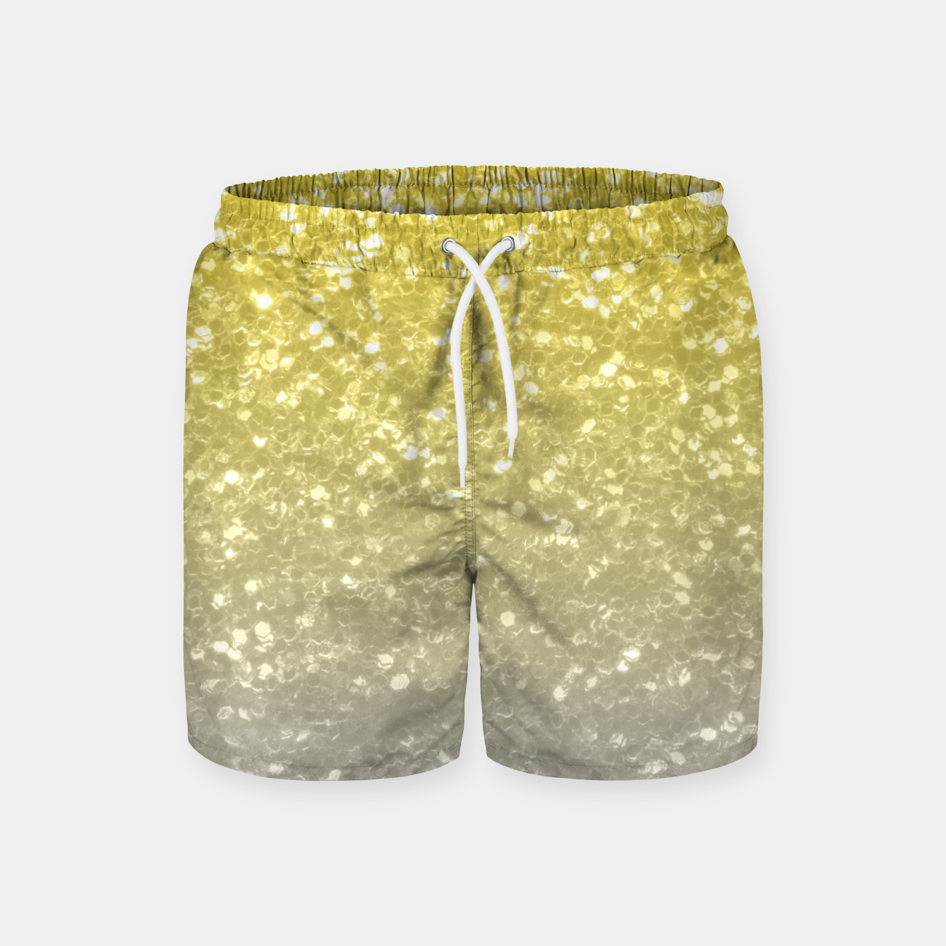 Image of Light ultimate grey illuminating yellow sparkles Swim Shorts - Live Heroes