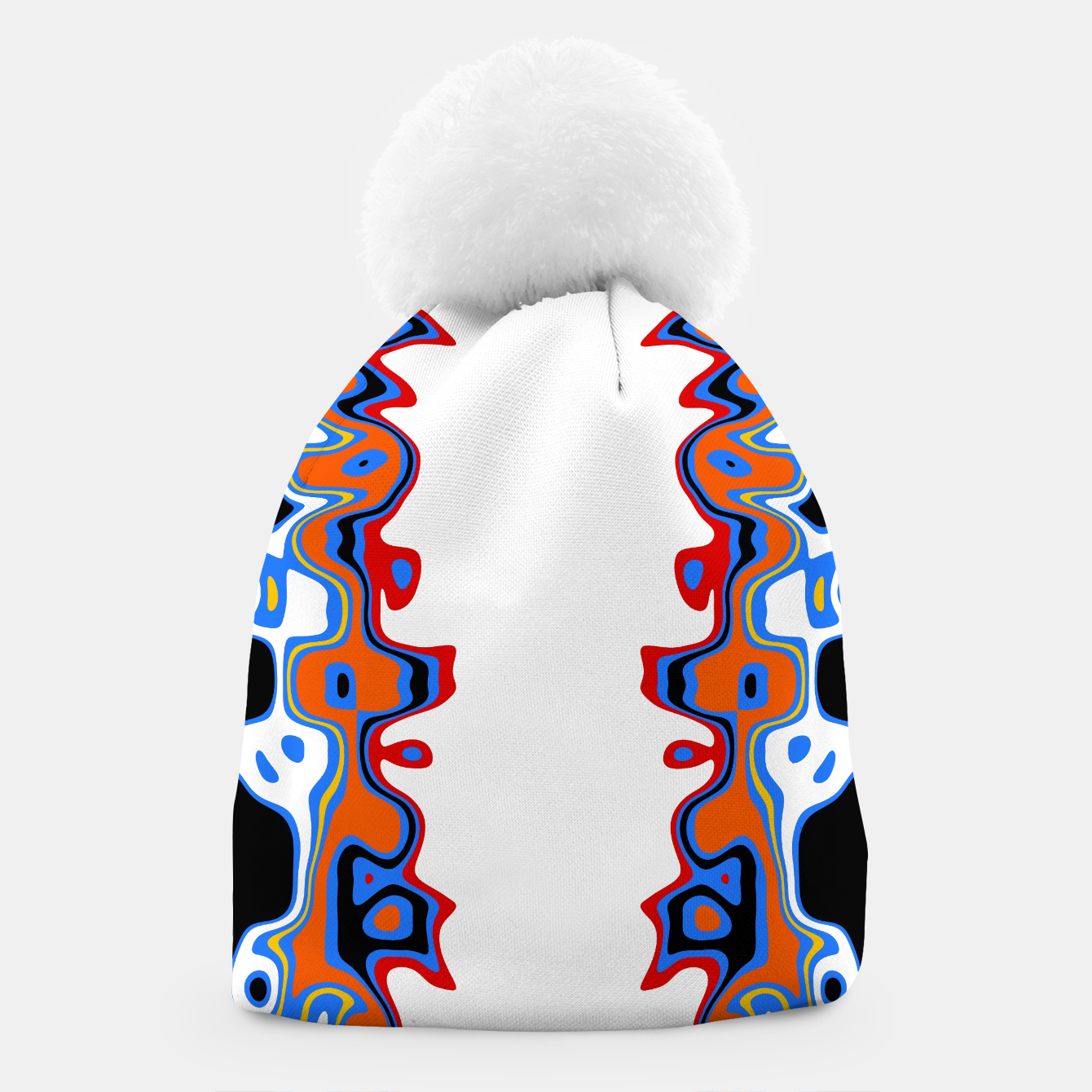 Image of Two Sided Abstract White Beanie - Live Heroes