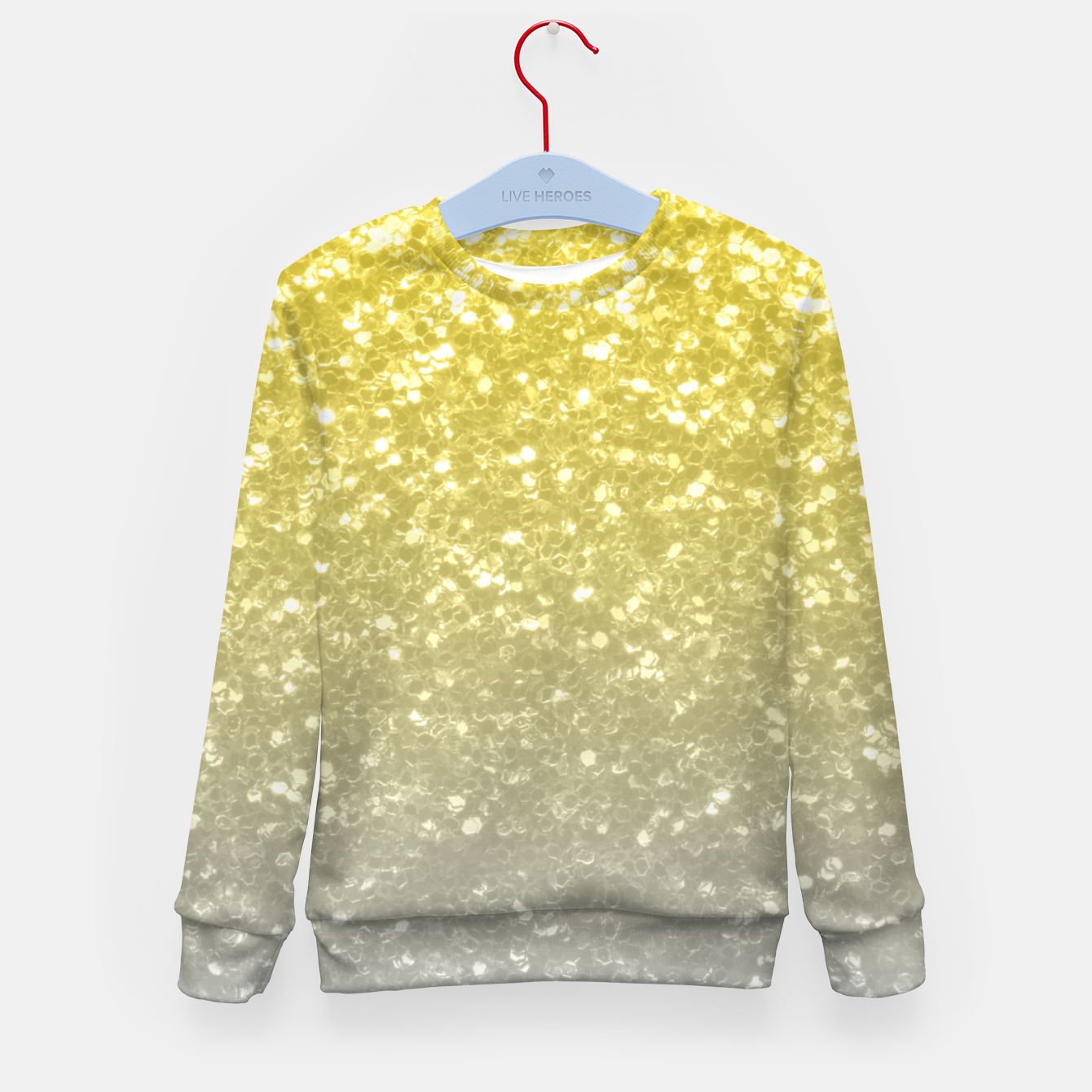 Image of Light ultimate grey illuminating yellow sparkles Kid's sweater - Live Heroes