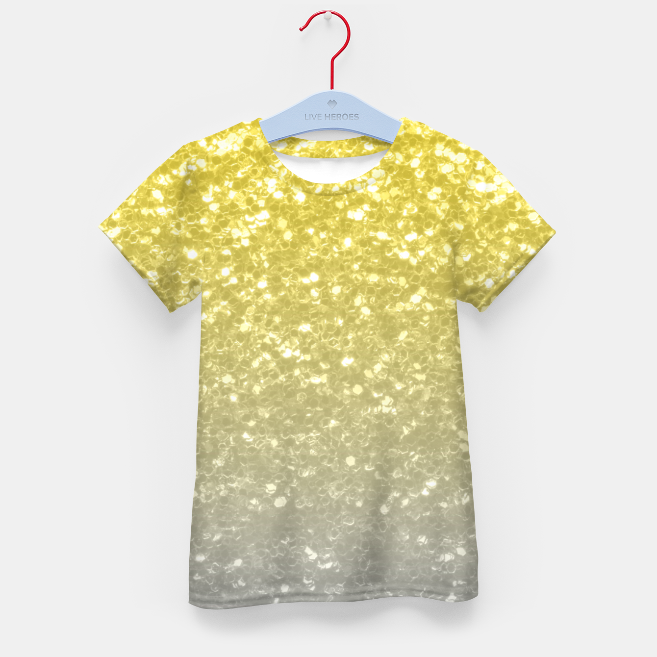 Image of Light ultimate grey illuminating yellow sparkles Kid's t-shirt - Live Heroes