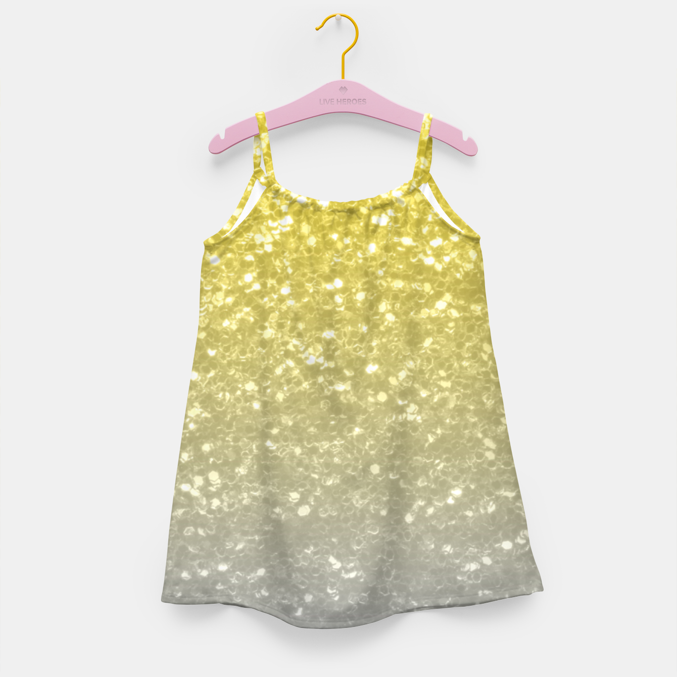 Image of Light ultimate grey illuminating yellow sparkles Girl's dress - Live Heroes