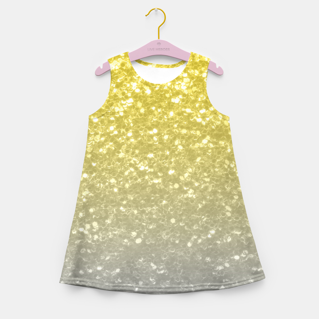 Image of Light ultimate grey illuminating yellow sparkles Girl's summer dress - Live Heroes