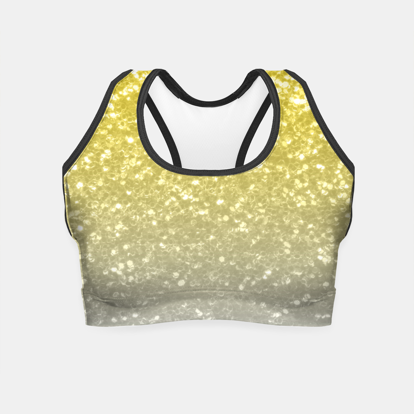 Image of Light ultimate grey illuminating yellow sparkles Crop Top - Live Heroes