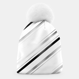 Miniatur Minimalist Black Linear Abstract Design Beanie, Live Heroes