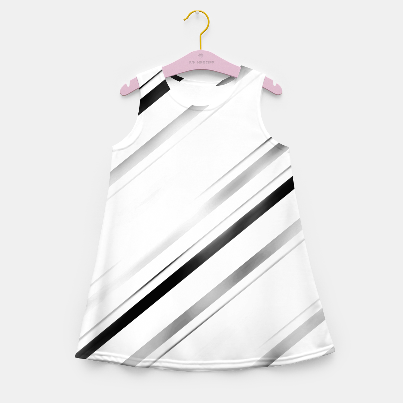 Image of Minimalist Black Linear Abstract Design Girl's summer dress - Live Heroes