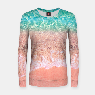Thumbnail image of Dreamy seaside photography, water and sand in magical colors Women sweater, Live Heroes