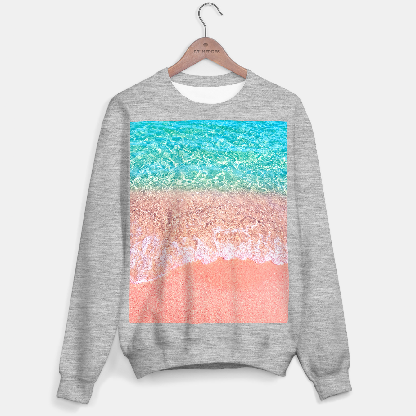 Image of Dreamy seaside photography, water and sand in magical colors Sweater regular - Live Heroes