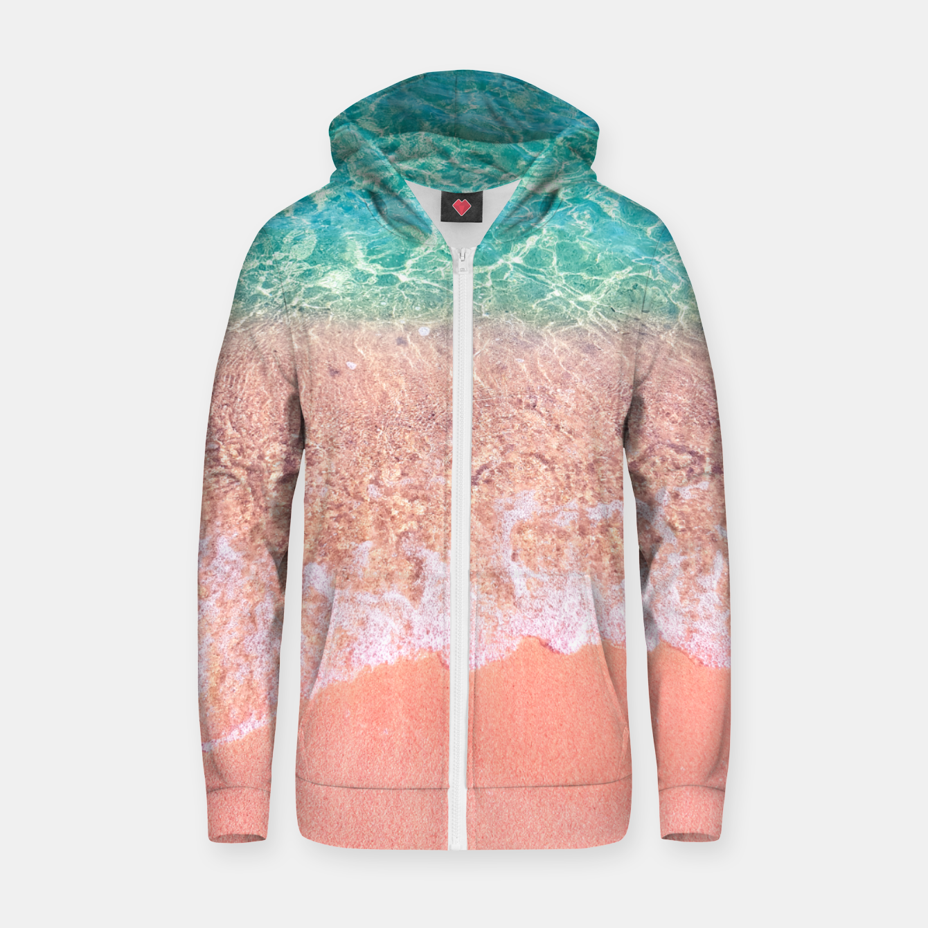 Image of Dreamy seaside photography, water and sand in magical colors Zip up hoodie - Live Heroes
