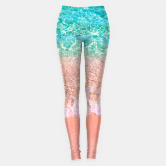 Dreamy seaside photography, water and sand in magical colors Leggings thumbnail image