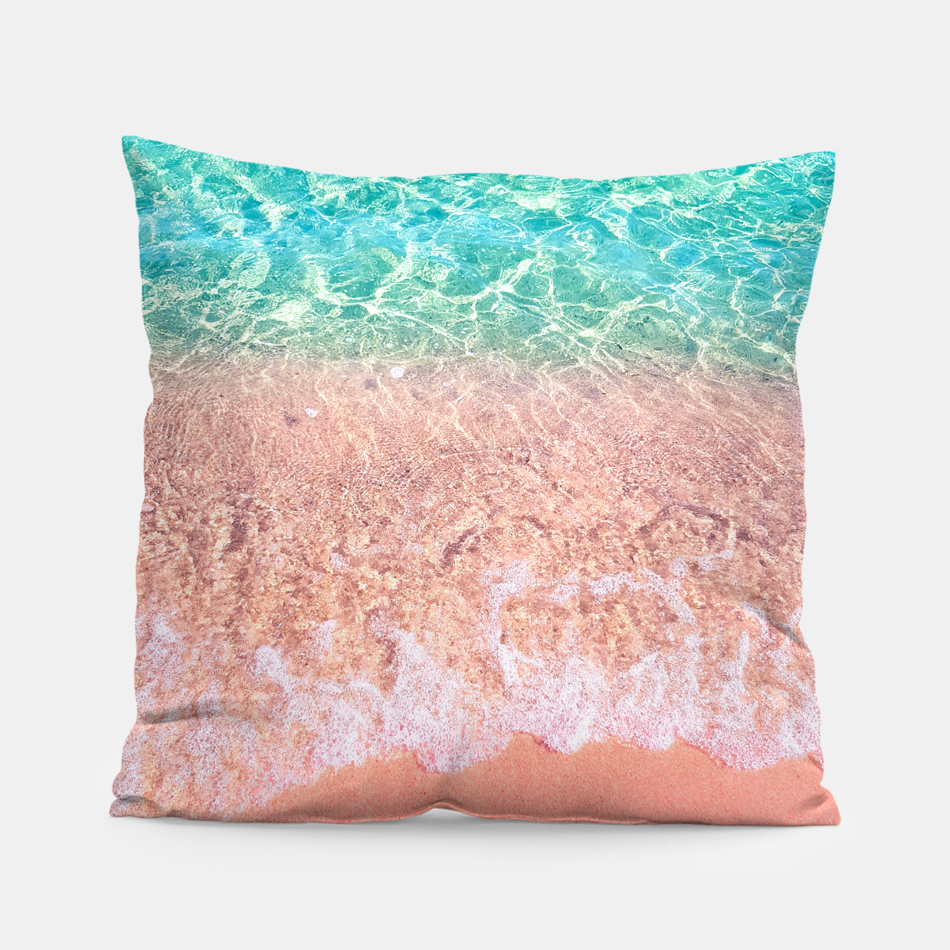Image of Dreamy seaside photography, water and sand in magical colors Pillow - Live Heroes