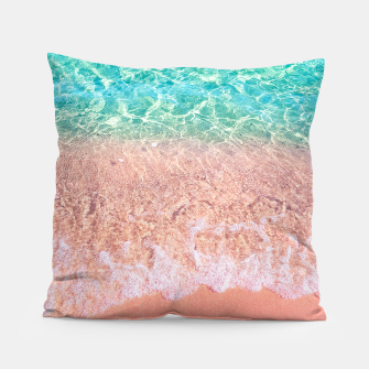 Dreamy seaside photography, water and sand in magical colors Pillow thumbnail image