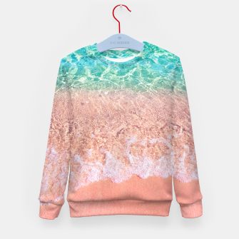 Dreamy seaside photography, water and sand in magical colors Kid's sweater thumbnail image