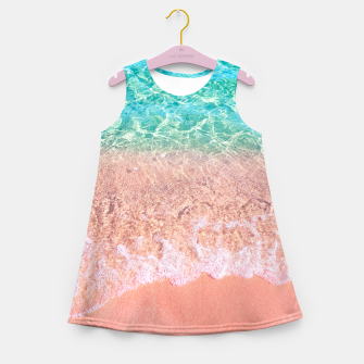 Dreamy seaside photography, water and sand in magical colors Girl's summer dress thumbnail image