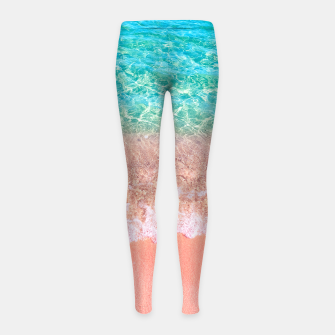 Dreamy seaside photography, water and sand in magical colors Girl's leggings thumbnail image