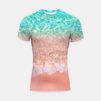 Imagen en miniatura de Dreamy seaside photography, water and sand in magical colors Shortsleeve rashguard, Live Heroes