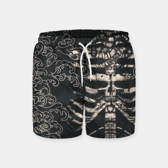 Miniatur Waved Tattooed Skeleton  Swim Shorts, Live Heroes