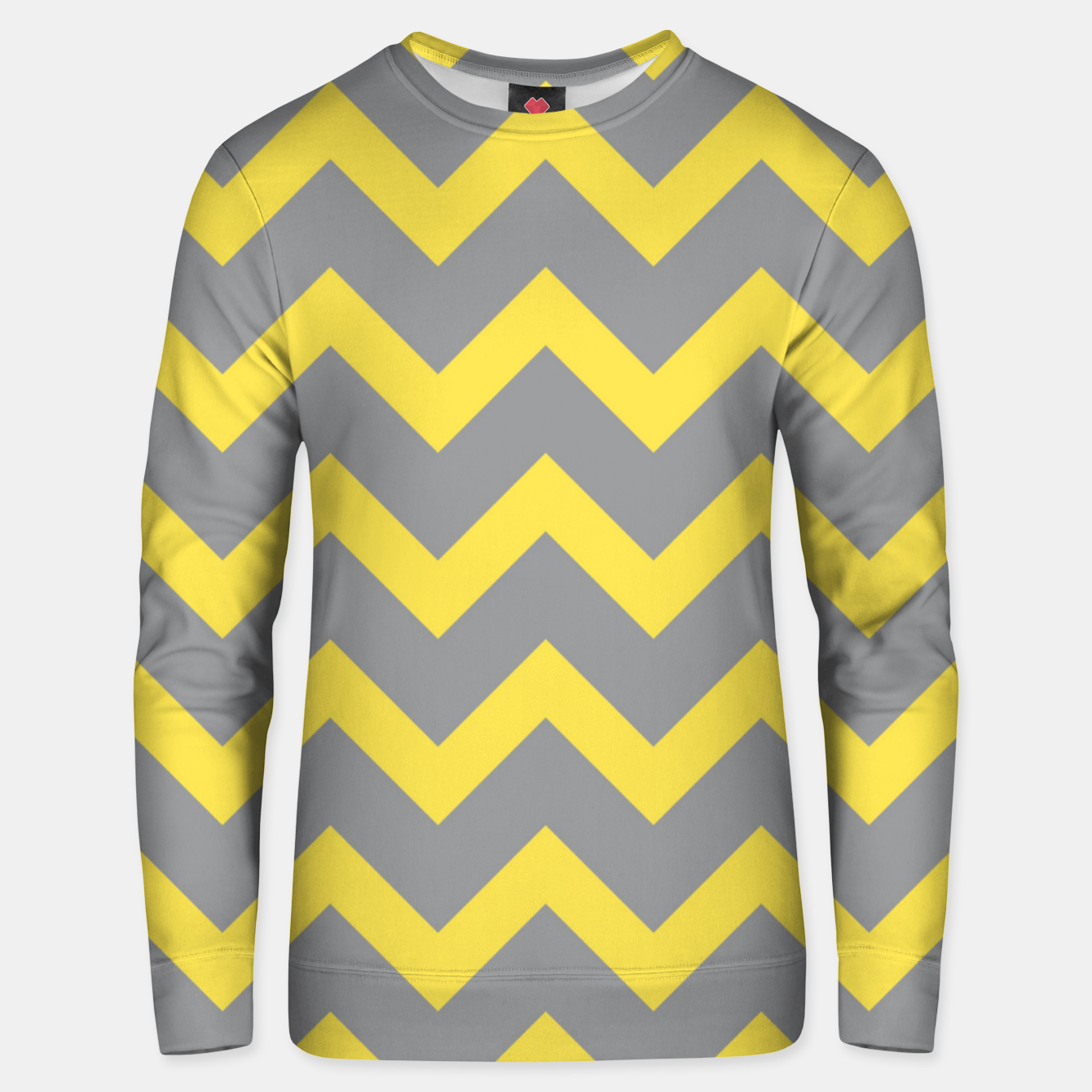 Image of Chevron ultimate grey illuminating yellow pattern Unisex sweater - Live Heroes