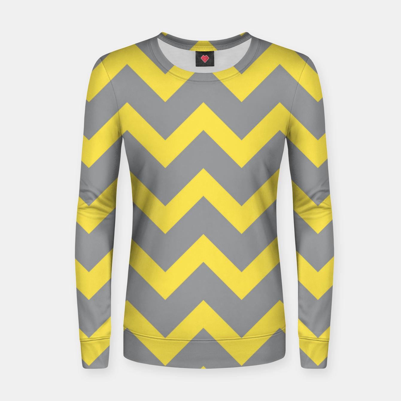 Image of Chevron ultimate grey illuminating yellow pattern Women sweater - Live Heroes