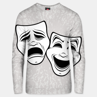 Comedy And Tragedy Theater Masks Black Line Unisex sweater thumbnail image