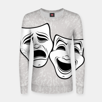 Thumbnail image of Comedy And Tragedy Theater Masks Black Line Women sweater, Live Heroes
