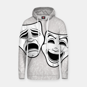 Miniatur Comedy And Tragedy Theater Masks Black Line Hoodie, Live Heroes