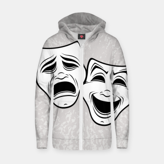 Comedy And Tragedy Theater Masks Black Line Zip up hoodie thumbnail image