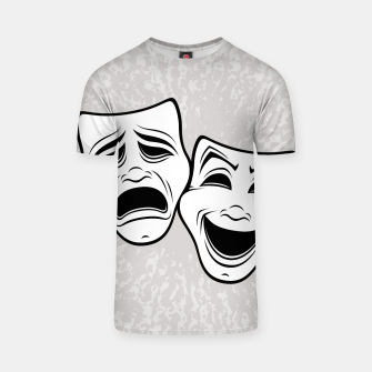 Thumbnail image of Comedy And Tragedy Theater Masks Black Line T-shirt, Live Heroes