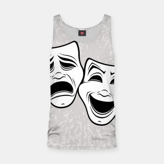 Thumbnail image of Comedy And Tragedy Theater Masks Black Line Tank Top, Live Heroes