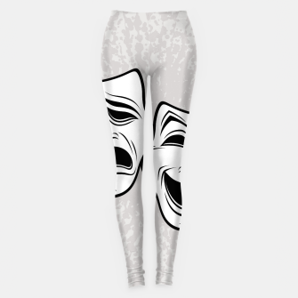 Comedy And Tragedy Theater Masks Black Line Leggings thumbnail image