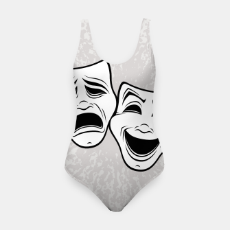 Imagen en miniatura de Comedy And Tragedy Theater Masks Black Line Swimsuit, Live Heroes