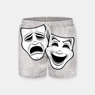 Comedy And Tragedy Theater Masks Black Line Swim Shorts thumbnail image