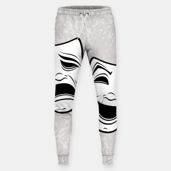 Thumbnail image of Comedy And Tragedy Theater Masks Black Line Sweatpants, Live Heroes
