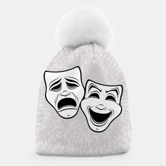 Miniatur Comedy And Tragedy Theater Masks Black Line Beanie, Live Heroes