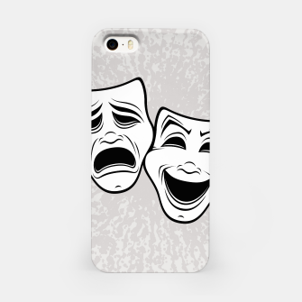 Comedy And Tragedy Theater Masks Black Line iPhone Case thumbnail image