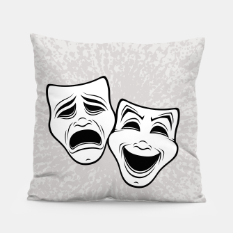 Comedy And Tragedy Theater Masks Black Line Pillow thumbnail image