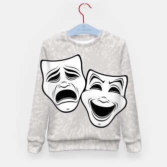 Thumbnail image of Comedy And Tragedy Theater Masks Black Line Kid's sweater, Live Heroes