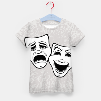 Thumbnail image of Comedy And Tragedy Theater Masks Black Line Kid's t-shirt, Live Heroes