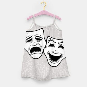 Comedy And Tragedy Theater Masks Black Line Girl's dress thumbnail image