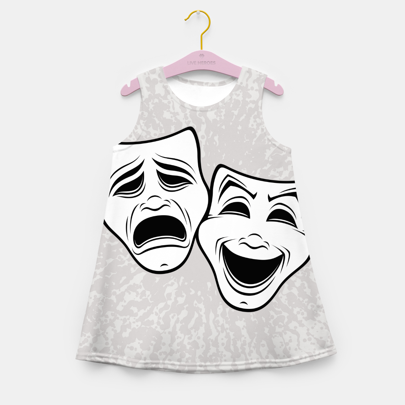 Image of Comedy And Tragedy Theater Masks Black Line Girl's summer dress - Live Heroes