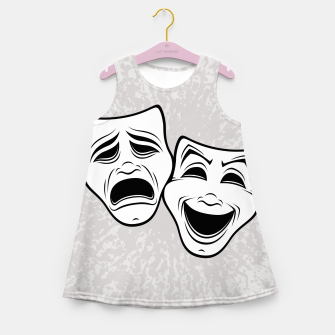 Thumbnail image of Comedy And Tragedy Theater Masks Black Line Girl's summer dress, Live Heroes