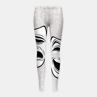 Thumbnail image of Comedy And Tragedy Theater Masks Black Line Girl's leggings, Live Heroes