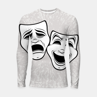 Miniatur Comedy And Tragedy Theater Masks Black Line Longsleeve rashguard , Live Heroes